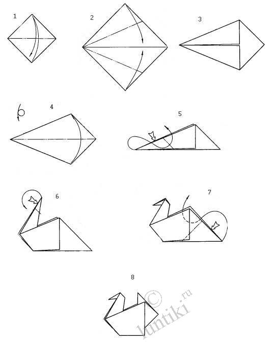 Kids arts and crafts.  Origami activity - the simple scheme of folding, photos - A GOOSE.