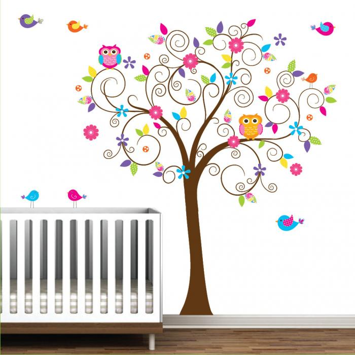 Pin sticker enfant arbre a c ur sticker mural pour chambre - Stickers chambre bebe fille ...