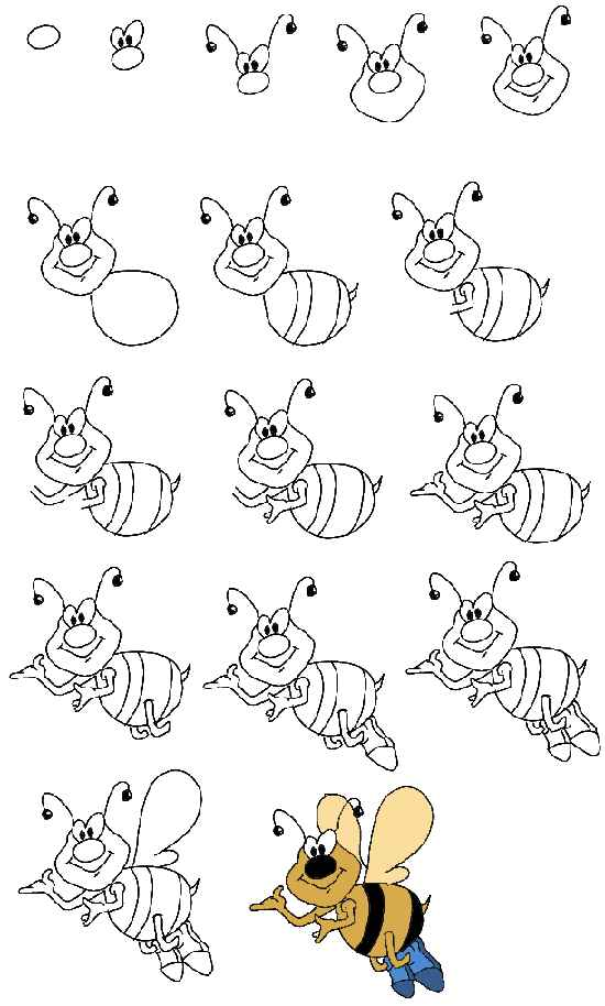 ... kids. A drawing lesson for children - a step by step drawing of a bee