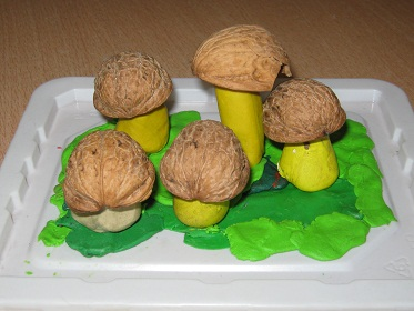 Children creativity. Mushrooms have grown - the first crafts from plasticine for kids